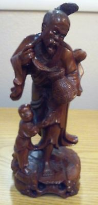 Antique Republic of China Hand Carved Wood Burl Fisherman & Son Glass Eyes