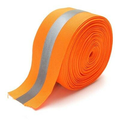 "Safety Silver Reflective Sew On Fabric Tape Strip ORANGE Vest 2"" US SHIPPER"