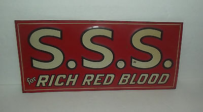 Very Neat Vintage S.s.s. For Rich Red Blood Medicine Tin Sign