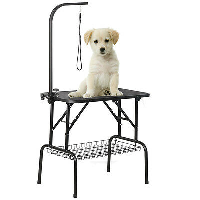 Folding Dog Pet Grooming Bath Table Portable Arm Non Slip w/Loop Noose Mesh Tray