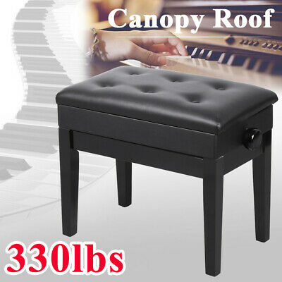 Piano Bench PU Leather Storage Adjustable Height Padded Seat Keyboard Black