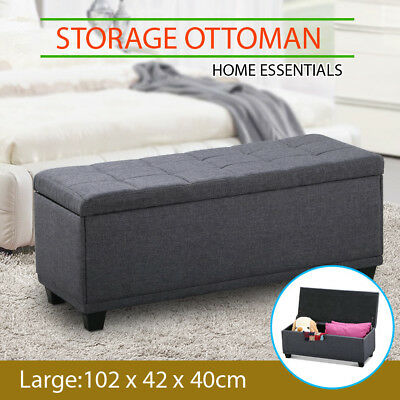 Large Blanket Box Ottoman Storage Fabric Foot Stool Toy Chest Seat Bench Grey