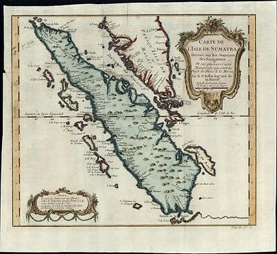 Sumatra Malacca Indonesia islands Asia 1757 Bellin antique folio hand color map