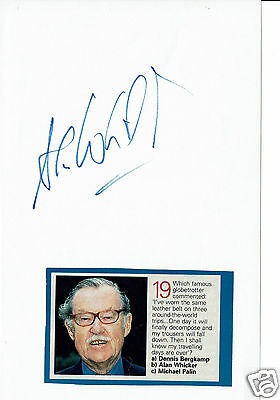 Alan Whicker Television Presenter Whickers world  Hand Signed Paper 9 x 6