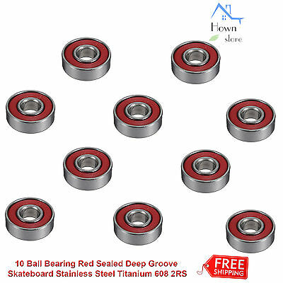 Ball Bearing Red Sealed Deep Groove Skateboard Stainless Steel Titanium 608 2RS