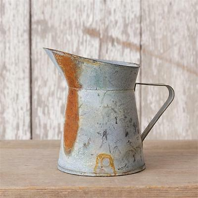 GALVANIZED SHORT PITCHER Rustic Tin French Vintage Style Vase Primitive Country