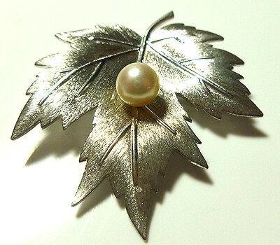 Large Mikimoto Sterling Silver Pearl Leaf Brooch Pin 1 5/8""