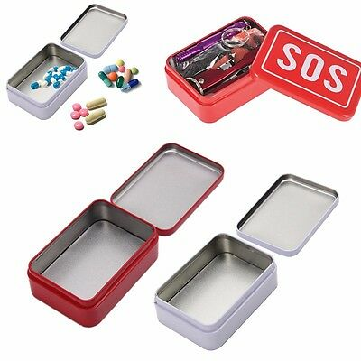 SOS + Tin Box Case Lid Container for Survival Gear Kits First Aid Pill Box New