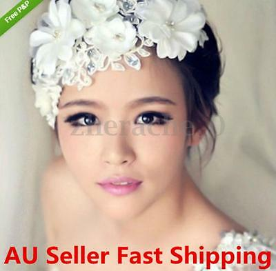 Pearls Flower Lace Wedding Bridal Headband Headpiece Headdress Hair Band Tiara
