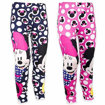 Disney Minnie Mickey Mouse Girls Leggings Jeggings Trousers Bottoms Pants 4-10YR