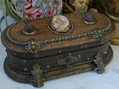 Beautiful Wood Antique French Coffret Chest Bronze feet - Roses in Lucite - Key