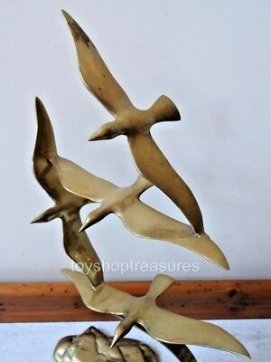 Stunning Art Deco Style Genuine Vintage Brass Birds in Flight 44cm tall