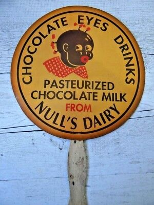 Vintage Advertising Americana Chocolate Eyes Milk Null's Dairy Antique Hand Fan