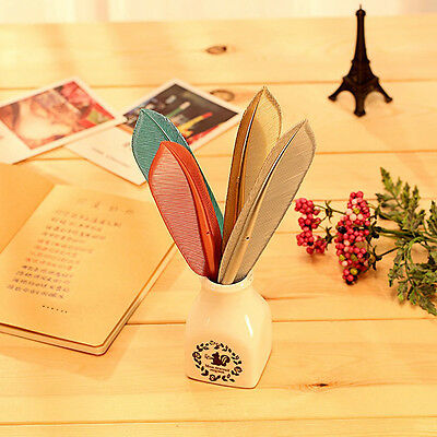 4Pcs Creative Beautiful Colorful Feather Shape Gel Pen Rollerball Pen Stationery