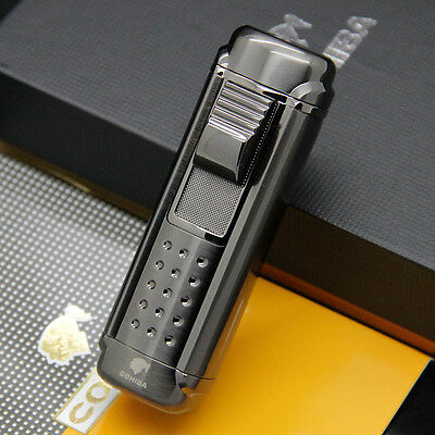 COHIBA Black 4 torch flame Cigar cigarette tobacco Lighter with Cigar Punch