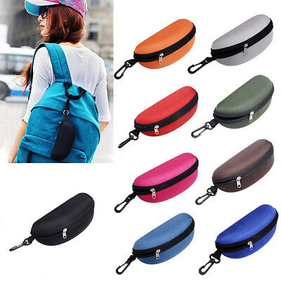 NEW Portable Zipper Eye Glasses Clam Shell Sunglasses Hard Case Protector  Box