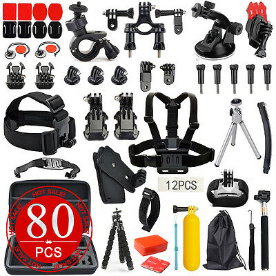 80in1 Accessories Pack Case Chest Head Monopod For GoPro Go pro HD Hero 4 3+ 3 2