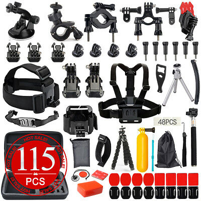 100Accessories Pack Head Chest Monopod Bike Surf Mount for GoPro Hero 5 4 3+ 3 2