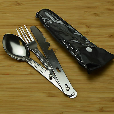 3 Piece Fork Knife Spoon Stainless Steel Chow Kit Emergency Survival Camping