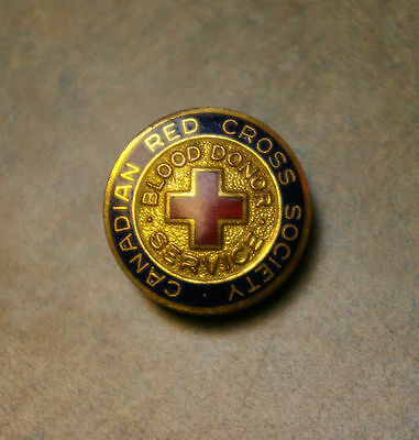 'canadian Red Cross Society Blood Donor Service' Screw Back Enamel Lapel Pin