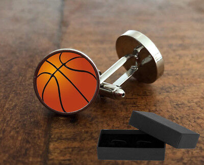 Basketball Cufflinks - 3D Glass Lens Front - Mens Novelty Gift  Christmas Nba