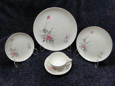 Fine China of Japan Golden Rose MSI 5 Pc Place Setting EXCELLENT