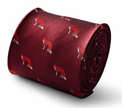 Maroon Mens Tie with Hunting Fox Print by Frederick Thomas FT3342