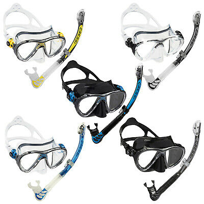 Cressi Big Eyes Evolution Mask Alpha Dry Snorkel Set Yellow Black Blue Dry Top
