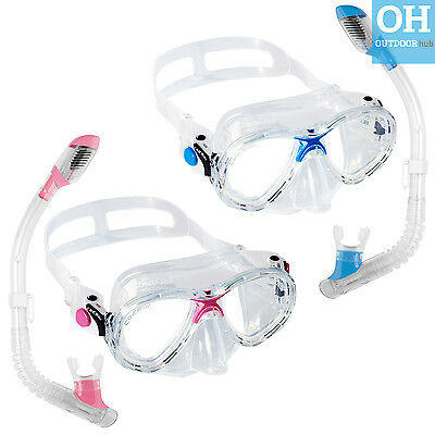 Cressi Marea Dry Top Snorkel Mask Set Junior Ladies Blue Pink Snorkelling Swim