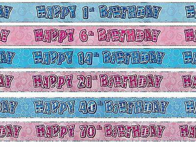 9ft Foil Banner Glitz Birthday Party Decorations Banners Milestone Ages 13-100