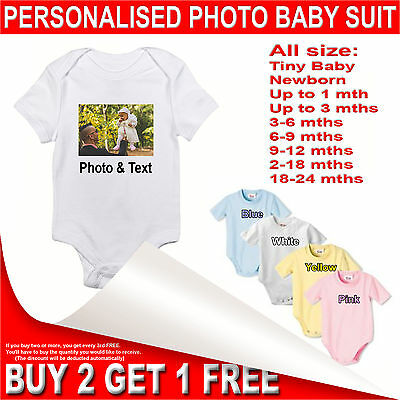 Personalised Photo Printed Baby Bodysuit - Custom Birthday Baby Grow - Body Suit
