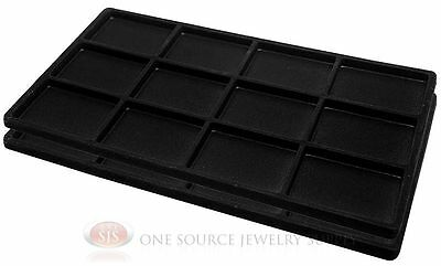 2 Black Insert Tray Liners W/ 12 Compartments Drawer Organizer Jewelry Displays