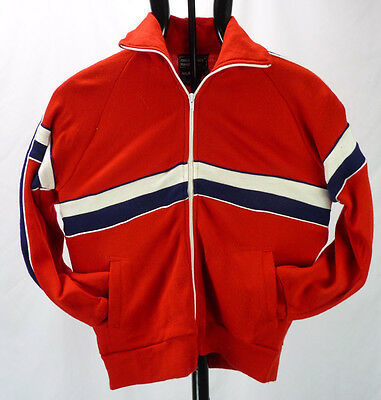 Vintage 70s 80s Red Track Jacket Sweatshirt Stripes Full Zip L 16/18 BOYS Youth