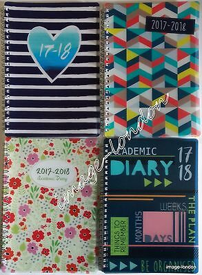 2017 2018 A5 Week to View Academic Diary Mid year Diary Spiral Bound PVC cover