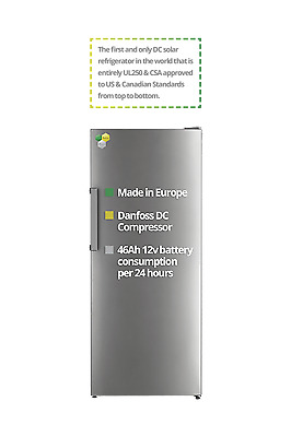 EcoSolarCool Solar Refrigerator 9.2 cu ft (Metallic Gray)