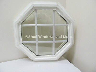 "Octagon Window PVC Double Pane Insulated 20"" White W/Grids"