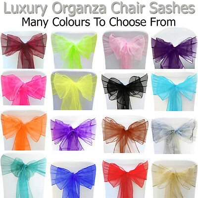 Chair Sashes Cover Organza Wedding Seat Bow Prom Party Decor Table Sash Ribbons