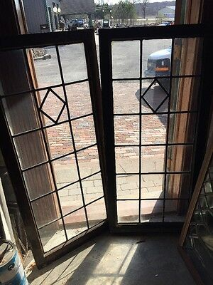 Sg 1223 Match Pair Antique Leaded Glass Windows 24.25 X 53 Each