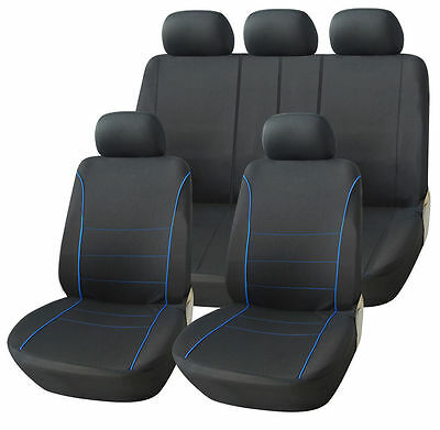 Vw Volkswagen Touran 03-10 Black Sport Seat Covers With Blue Piping
