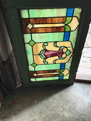 Sg 1231 Antique Stainglass Window 19 H By 28.5 Long