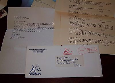 Phoenix Roadrunners Hockey Club envelope post mark 1989 Fan mail order