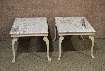 Pair of Vintage Marble Top Accent Tables w/Metal Base