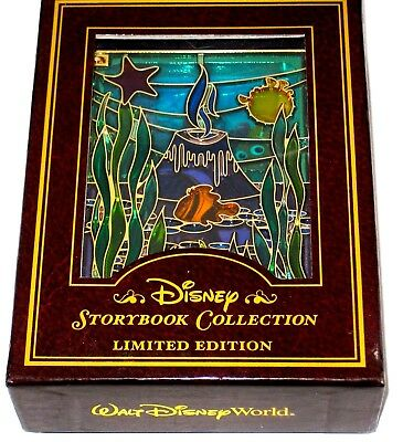 LE JUMBO Disney Pin✿Stained Glass Storybook Finding Nemo Gill Coral Fish Tank LE