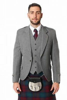 New Highland Wedding Mens Light Grey Tweed Argyle Jacket and Vest Range of Sizes