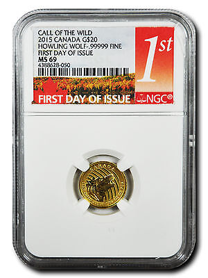 """2015 """"Howling Wolf"""" Canadian 1/10 oz. .99999 Fine Gold $20 Coin - First Day of I"""