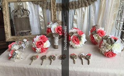 16pc Wedding Bouquet Bride Silk flowers Shsbby Rustic Chic Set Ivory Pearl Coral