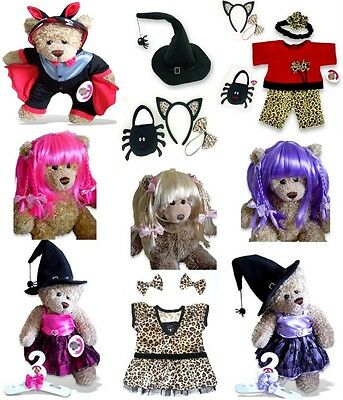 Teddy Bear Clothes fit Build a Bear Halloween Devil Witch Hat Spooky Cat