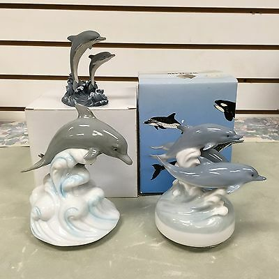 Dolphin Lovers: 3 Different Porcelain Collectible Figurines-Otagiri & Westland