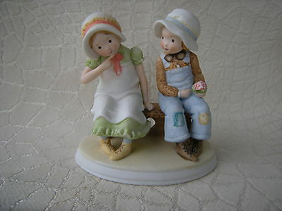 Designer Collection 1978 Porcelain Holly Hobbie & Robbie Sitting on Bench