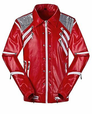 Classic Michael Jackson Red Beat It Leather Jacket Mens Kids MJ Beat it Costumes